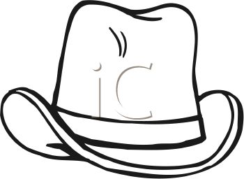picture of a cowboy hat in black in white in a vector clip art illustration