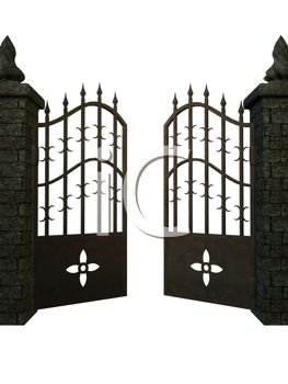 picture of a iron gate partially opened in a vector clip art illustration