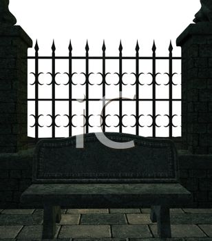 Picture of a closed iron gate with a bench in front in a vector clip art illustration
