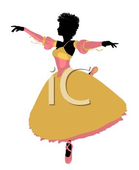 picture of a ballet dancing in the middle of a twirl in a vector clip art illustration