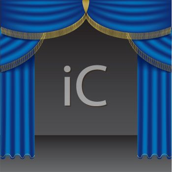 picture of bright blue curtains on a stage in a vector clip art illustration