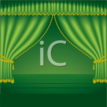 picture of green curtains on a stage in a vector clip art illustration