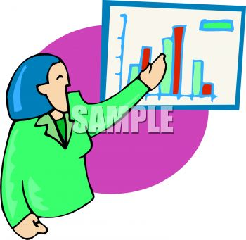 Business woman giving a presentation using charts and graphs