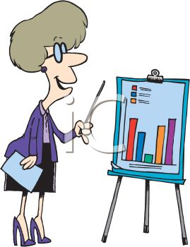 Cartoon woman giving a business presentation