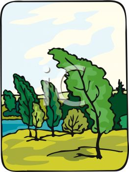 Picture Of a Landscape of Tall Trees blowing in the wind in a vector cli art illustration