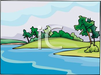 picture of a beautiful scenery of water and land with the trees blowing in the wind in a vector clip art illustration