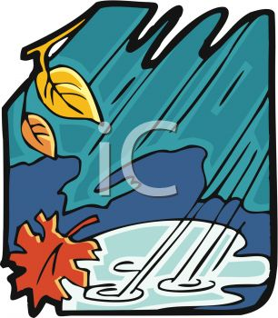 picture of a stormy scenery with the rain plundering and wind blowing in a vector clip art illustration