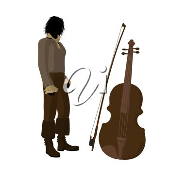picture of a musician standing next to his chello in a vector clip art illustration