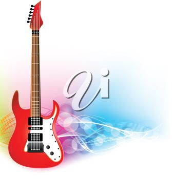 picture of a red and white electric guitar in a vector clip art illustration