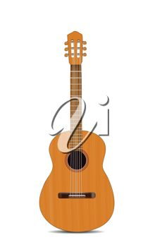 picture of an acoustic guitar in an upright position in a vector clip art illustration