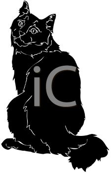 picture of a silhouette of a cat sitting looking over it's shoulder in a vector clip art illustration