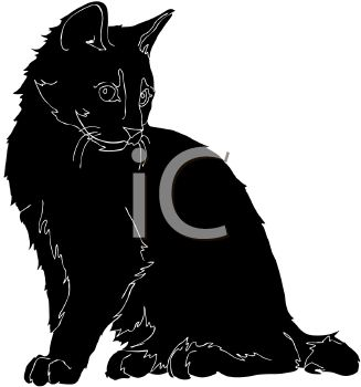 picture of a silhouette of a cat sitting and looking down in a vector clip art illustration