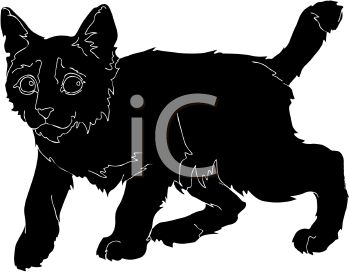 picture of a black kitten walking in a vector clip art illustration