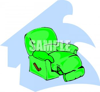 picture of a green recliner on a blue background in a vector clip art illustration