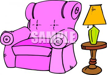picture of a pink recliner, lamp, and lampstand in a vector clip art illustration