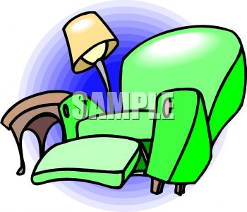 picture of a green recliner knocking over a lamp and table