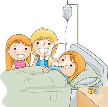 girl friends visiting their sick friend in the hospital