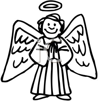 picture of a happy angel with large wings and a halo praying in a vector clip art illustration