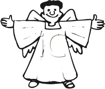 picture of an angel standing with his arms reaching out to the side in a vector clip art illustration