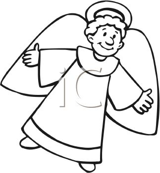 picture of an angel reaching out with his arms and flying mid air in a vector clip art illustration