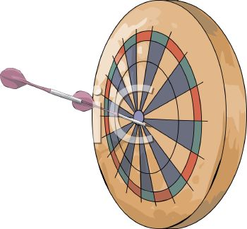 Picture of a Dart Board With Purple Darts In a Vector Clip Art ...