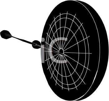 picture of a silhouette of a dartboard with darts