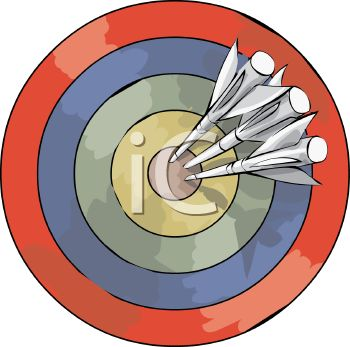 picture of a colorful dartboard with darts in the bullseye in a vector clip art illustration