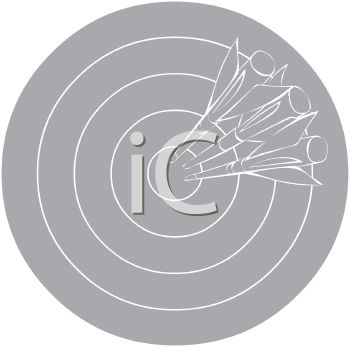 picture of a grey dart board with darts in a vector clip art illustration