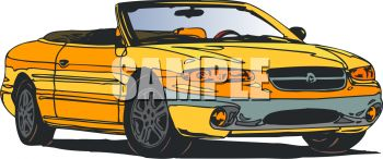 Picture of a yellow convertible car in a vector clip art illustration