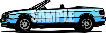 picture of a blue convertible car in a vector clip art illustration