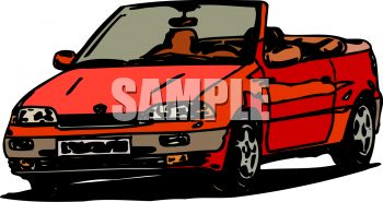 picture of a red convertible car in a vector clip art illustration