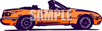 picture of an orange convertible car in a vector clip art illustration
