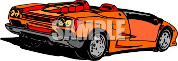 picture of an orange convertible sports car in a vector clip art illustration