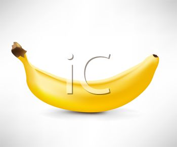 picture of a banana on a blue background in a vector clip art illustration