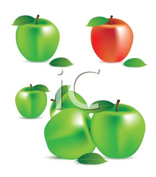 picture of green apples with one red apple in a vector clip art illustration