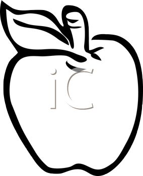 picture of an apple in black and white in a vector clip art illustration