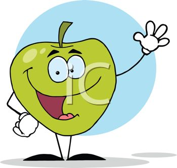 picture of an animated apple with a face, arms, and legs, in a vector clip art illustration