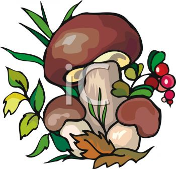 picture of mushrooms , berries, and leaves in greenery in a vector clip art illustration