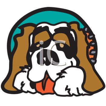 Picture of a large saint bernard laying down in a vector clip art illustration