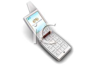 picture of a cartoon cell phone in a vector clip art illustration