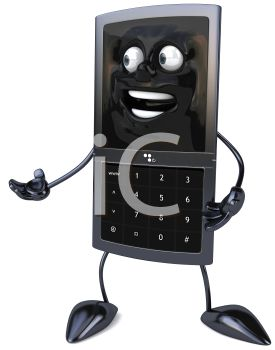 picture of an animated cell phone with a face, arms, and legs in a vector clip art illustration