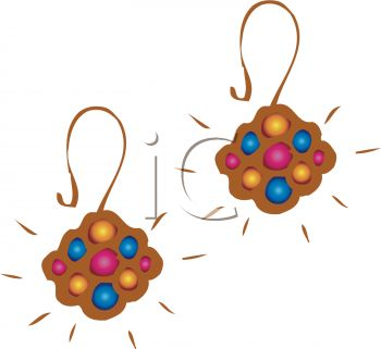 picture of a pair of brown earring with colorful spots in a vector clip art illustration
