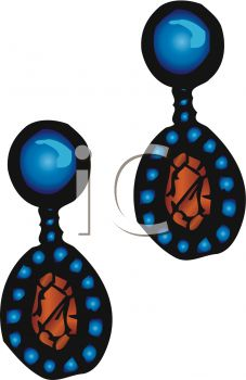 picture of a pair of blue earrings with rust colored centers in a vector clip art illustration