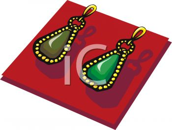 picture of a pair of gold earrings with a green stone in a vector clip art illustration
