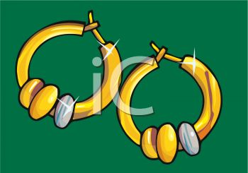 picture of a pair of hoop earrings with decorative stones in a vector clip art illustration