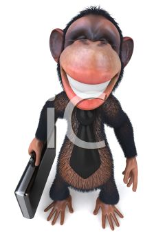 picture of a monkey with a big grin holding a laptop in a vector clip art illlustration