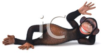picture of a happy monkey laying down with his hand up in a vector clip art illustration