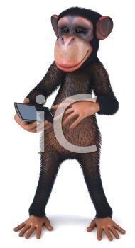 picture of a monkey holding a cell phone in a vector clip art illustration