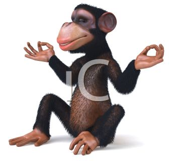 Picture of a monkey sitting down meditating in a vector clip art illustration