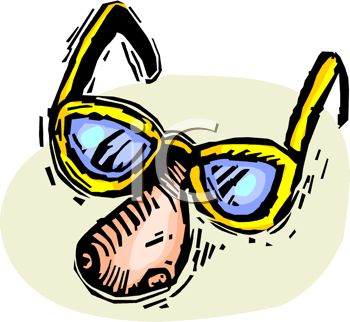 picture of a nose wearing a pair of yellow sunglasses in a vector clip art illustration